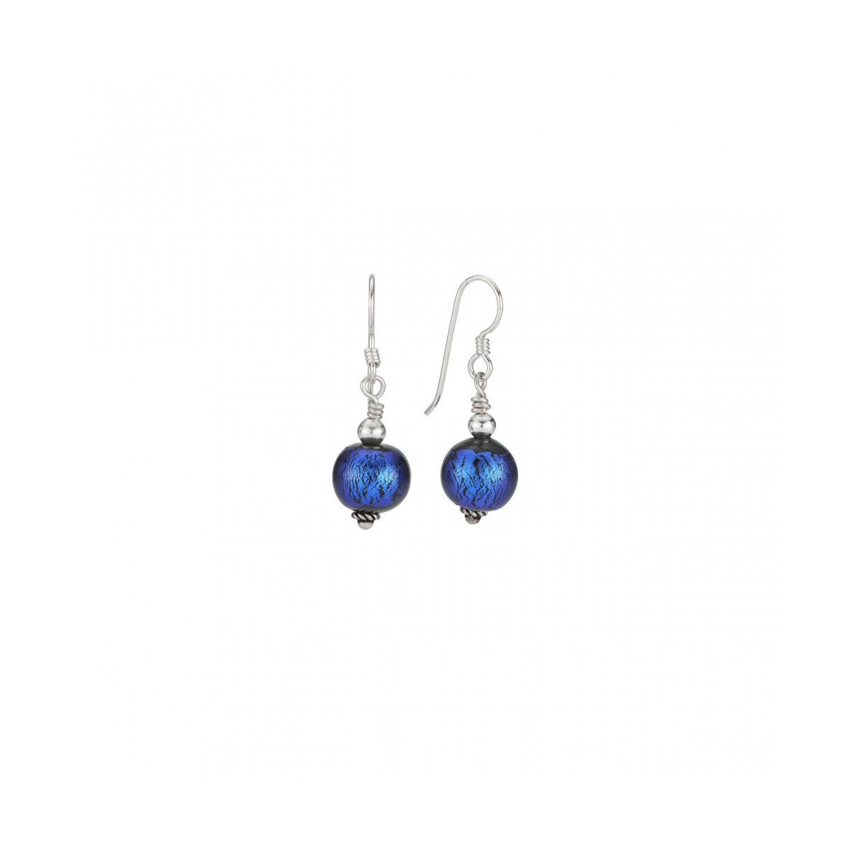 Bead Royal Blue Round Earring With Wire