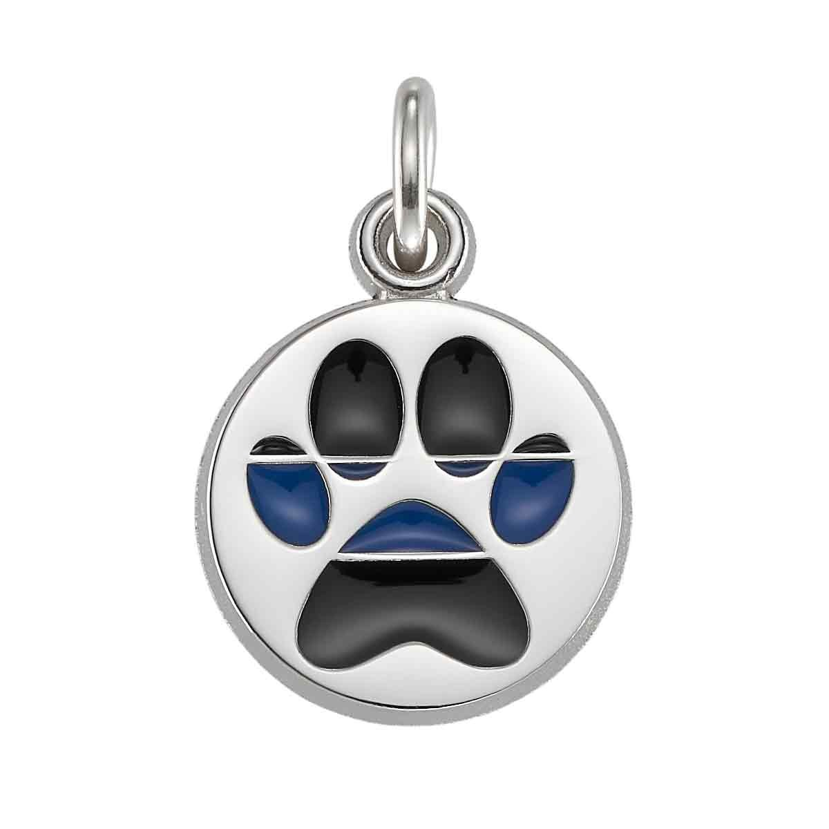 K-9 Thin Blue Line Paw Charm-Sterling Silver