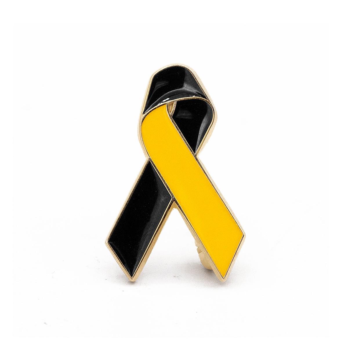 PTSD & TBI Ribbon (Black and Yellow)