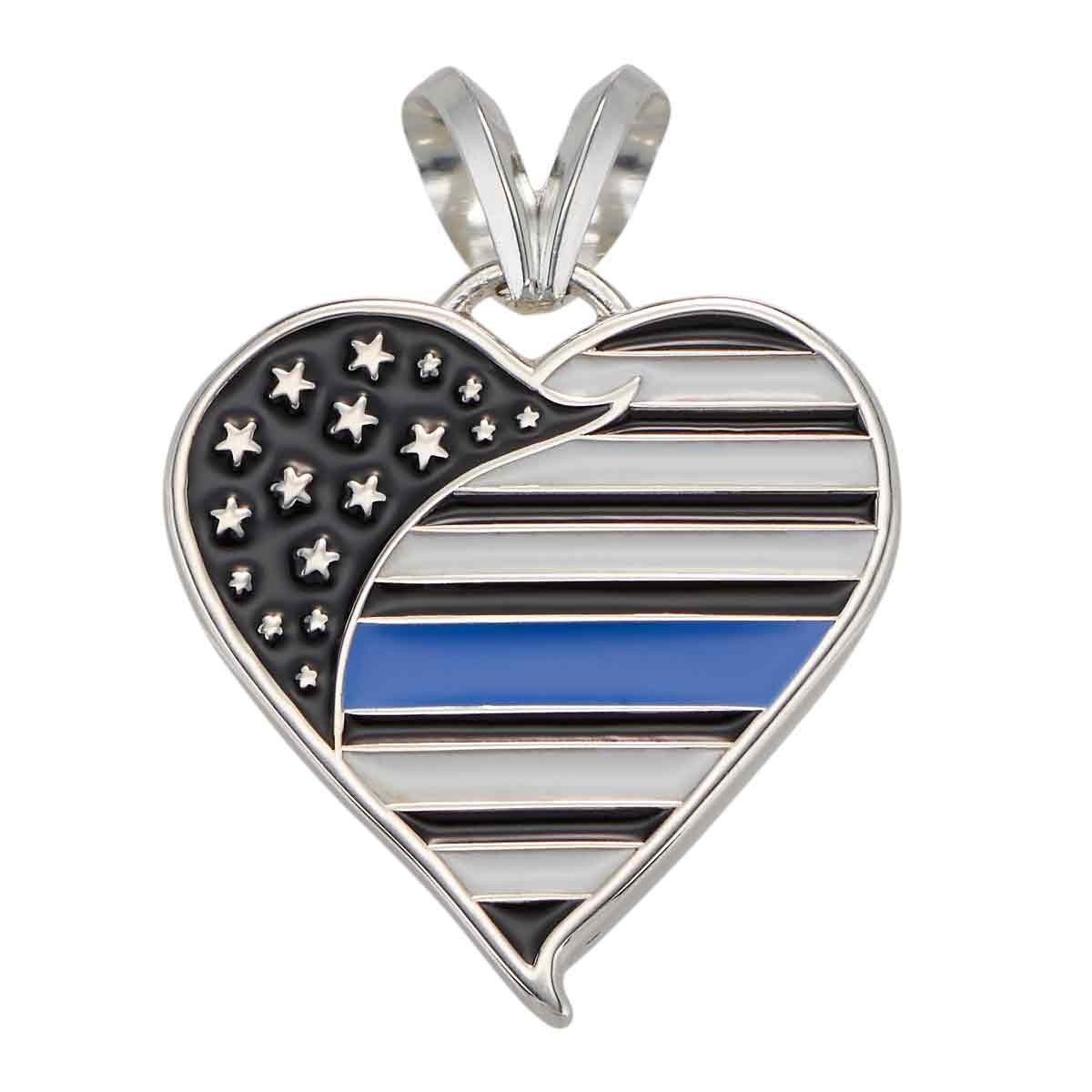 Thin Blue Line Heart Pendant