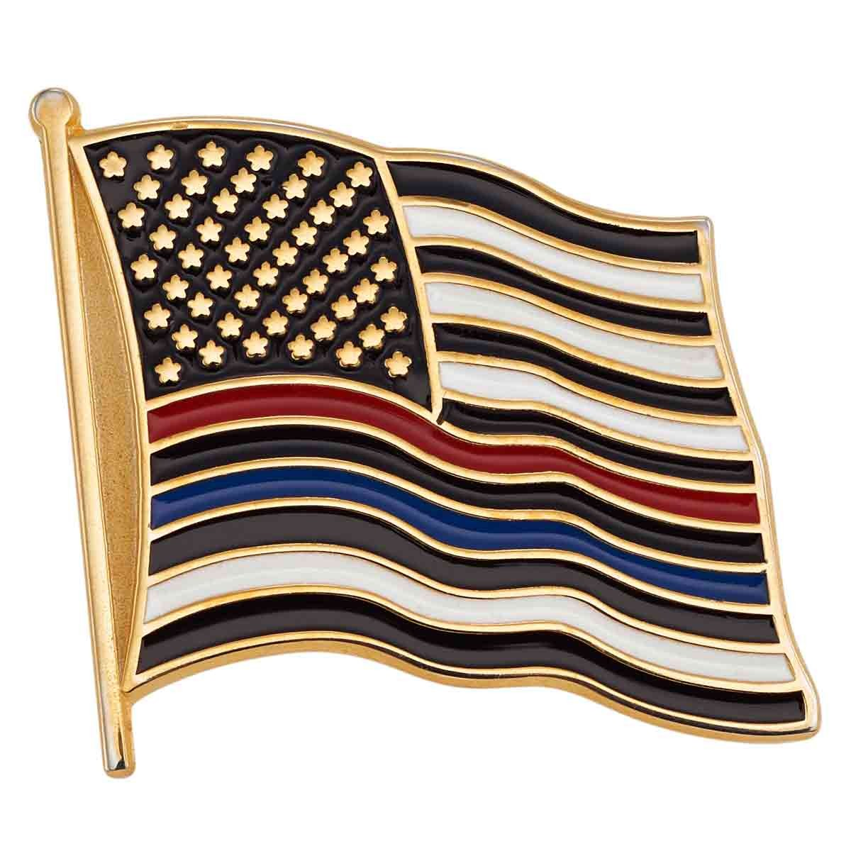 Thin Blue / Red Line Flag Pin