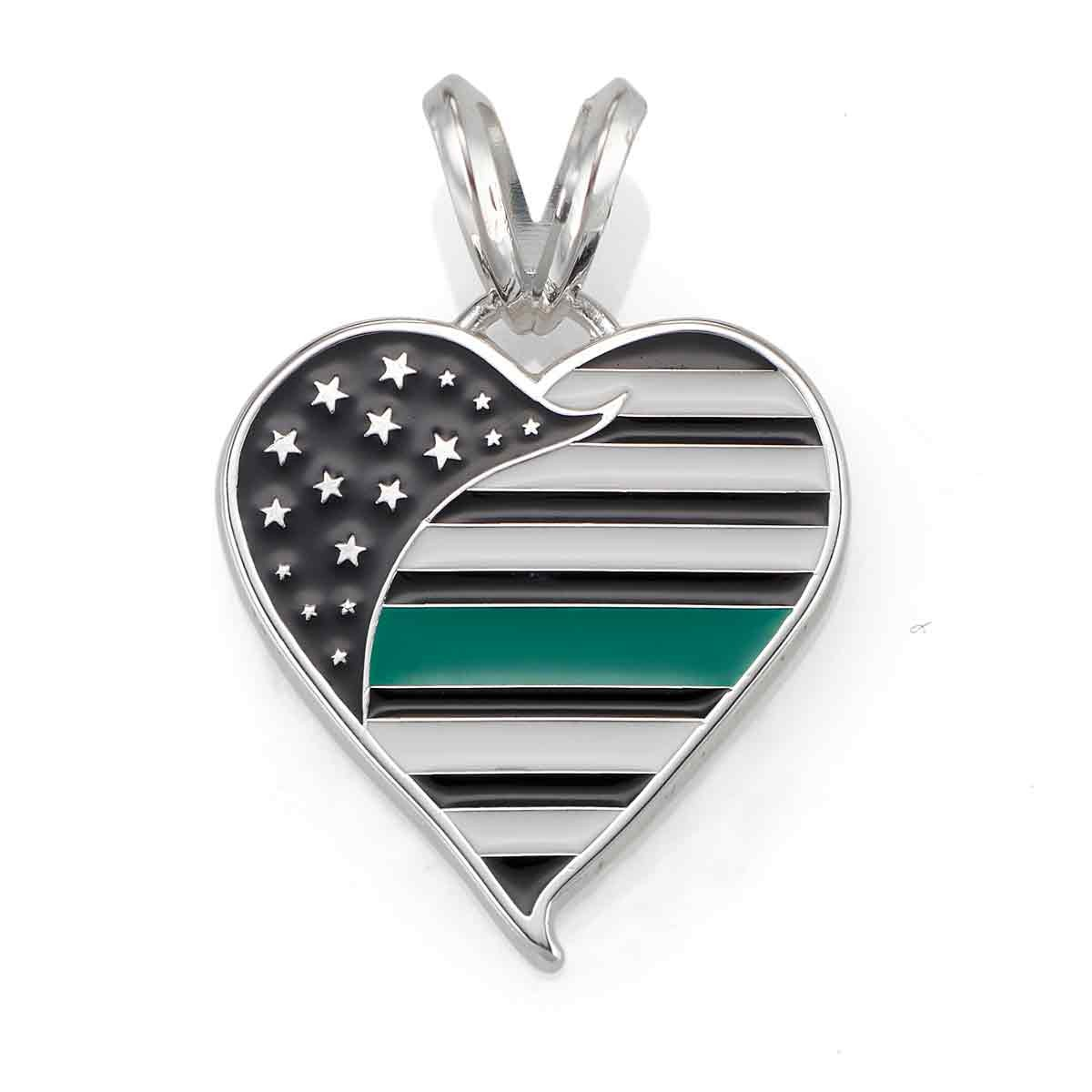 Thin Green Line Heart Pendant