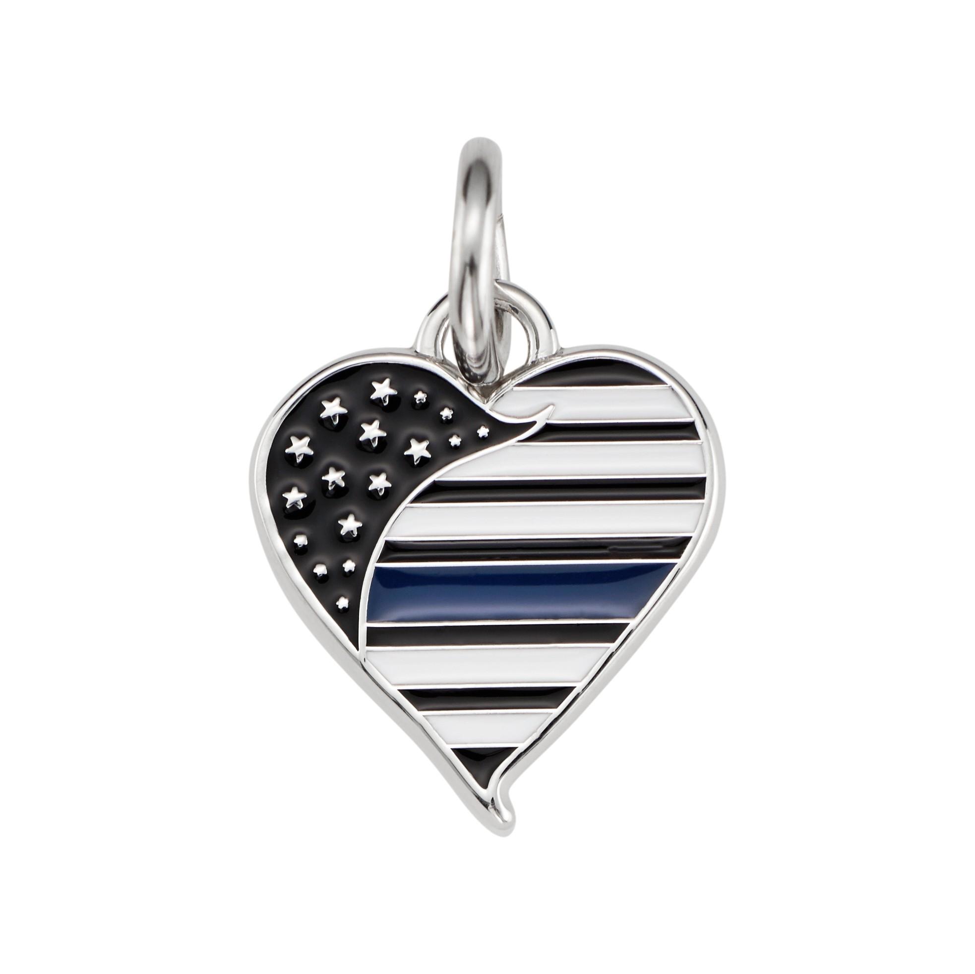 Thin Blue Line Heart Charm