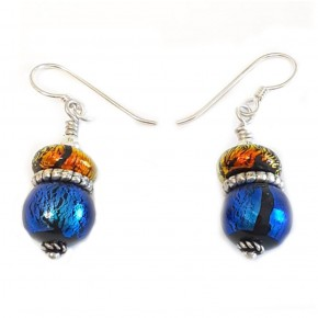 Bead Royal Blue Round with Sunrise Disk Earring