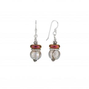 Bead Silver Frost & Crimson Disk Earrings