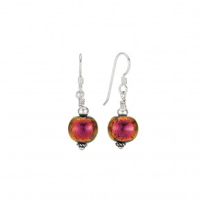 Bead Crimson Round Earring with Wire