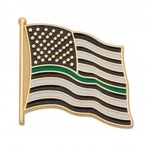 Thin Green Line Flag Pin
