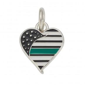 Thin Green Line Heart Charm
