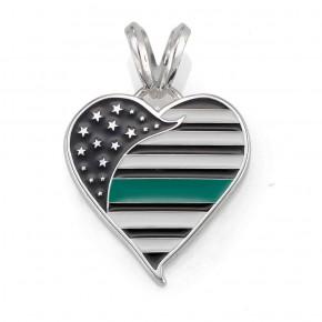 Thin Green Line Heart Pendant