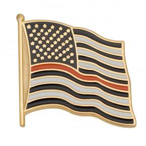 Thin Orange Line Flag Pin