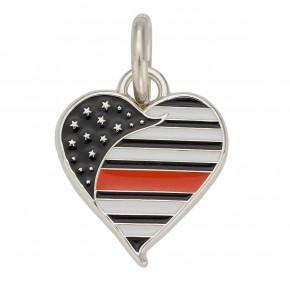 Thin Orange Line Heart Charm