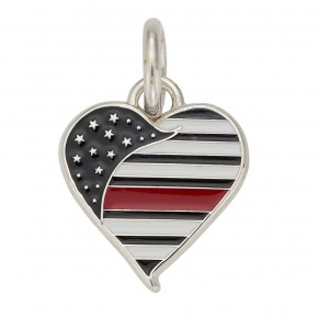 Thin Red Line Heart Charm