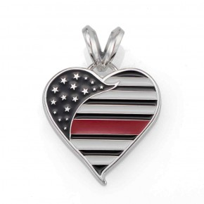 Thin Red Line Heart Pendant