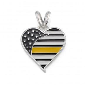 Thin Yellow Line Heart Pendant