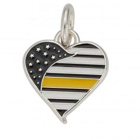 Thin Yellow Line Heart Charm