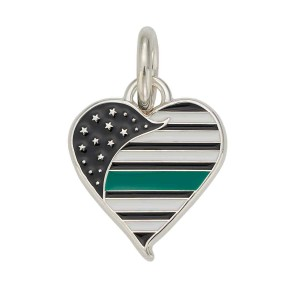 Thin Green Line Heart Charm