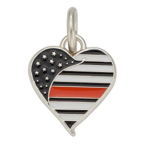 Thin Orange Line Heart Charm