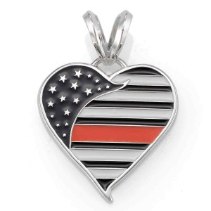 Thin Orange Line Heart Pendant